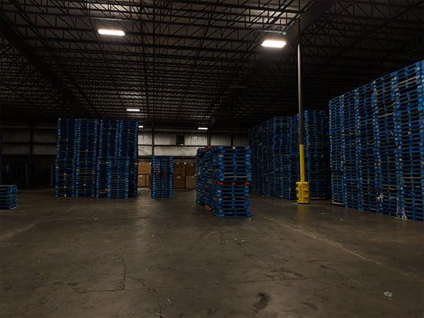 Old lighting in CHEP pallet warehouse