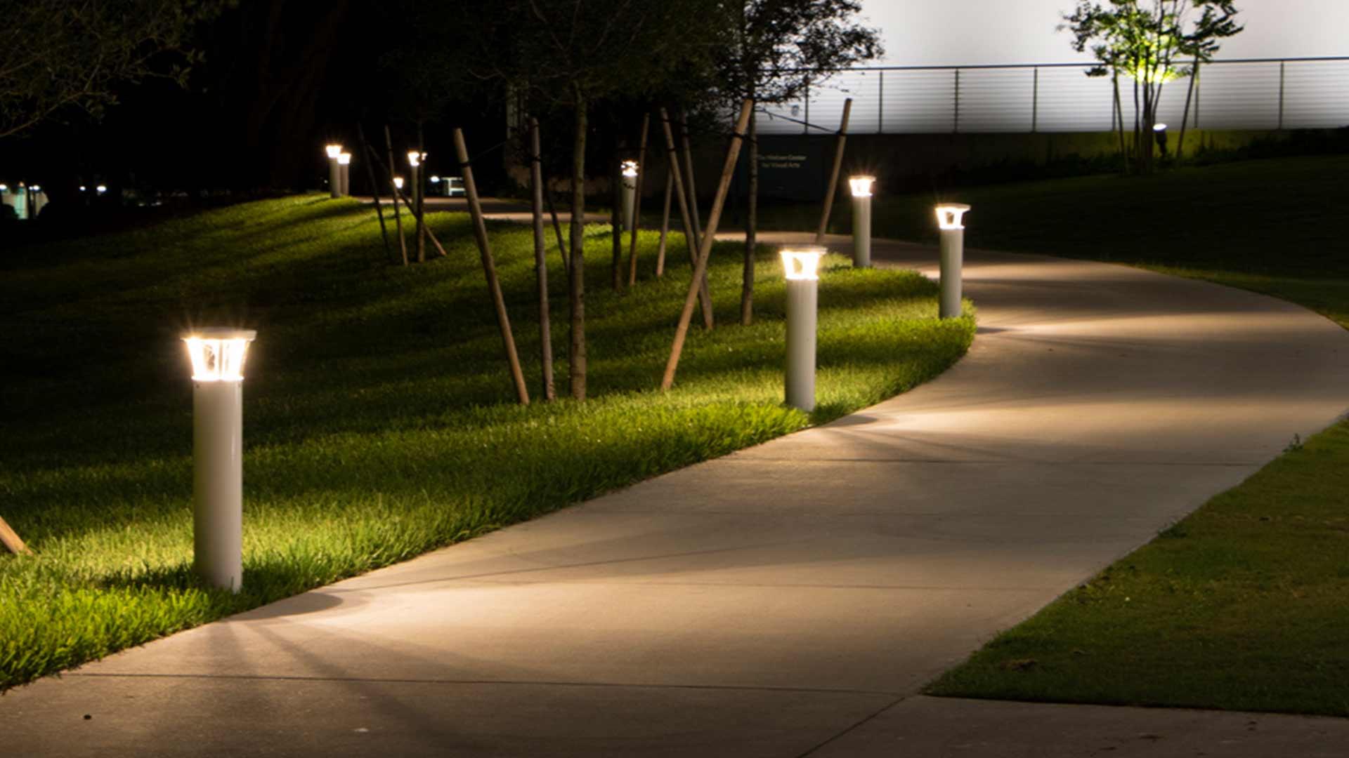 Sidewalk with decorative lighting